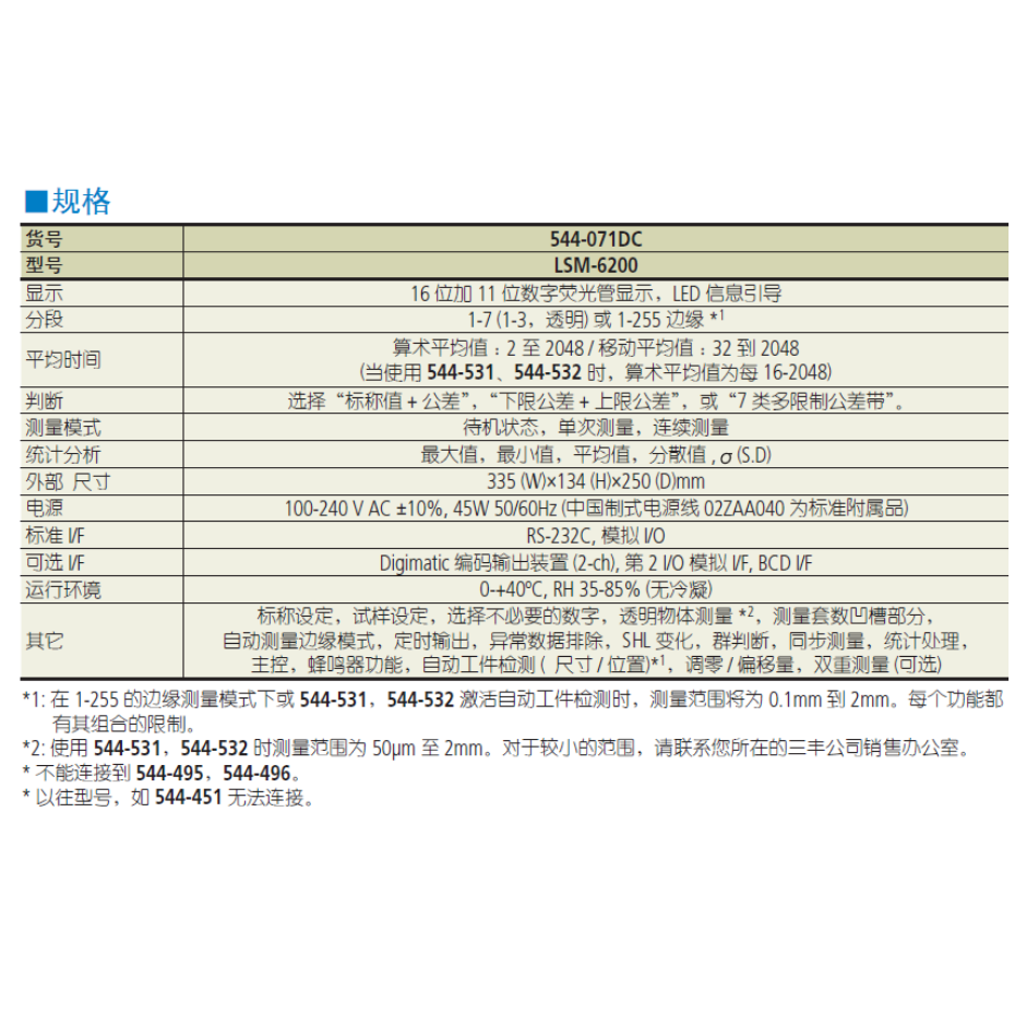 三丰激光测径仪LSM-6200规格