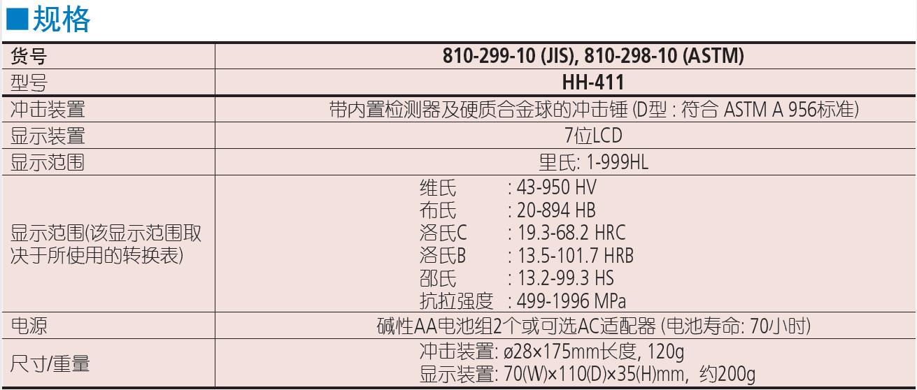 三丰HH-411 810 系列 — 便携式里氏硬度计