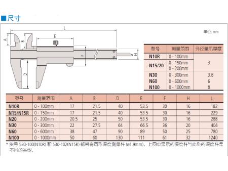 三丰游标卡尺530 系列 — M 型标准卡尺