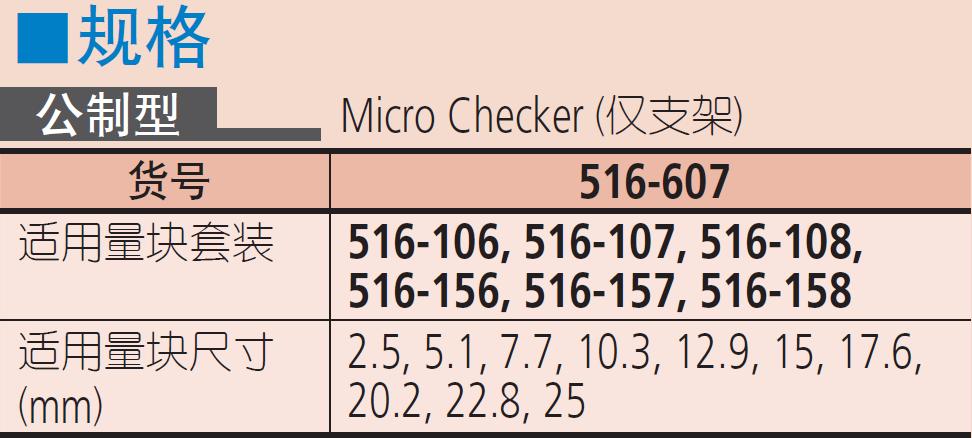 三丰千分尺检验用量块套装516 系列